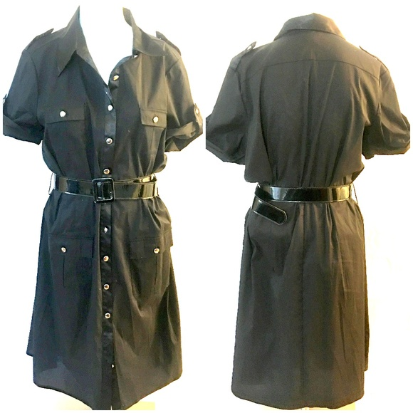 AGB Dresses & Skirts - AGB Black Button Front Shirt Dress    #RB